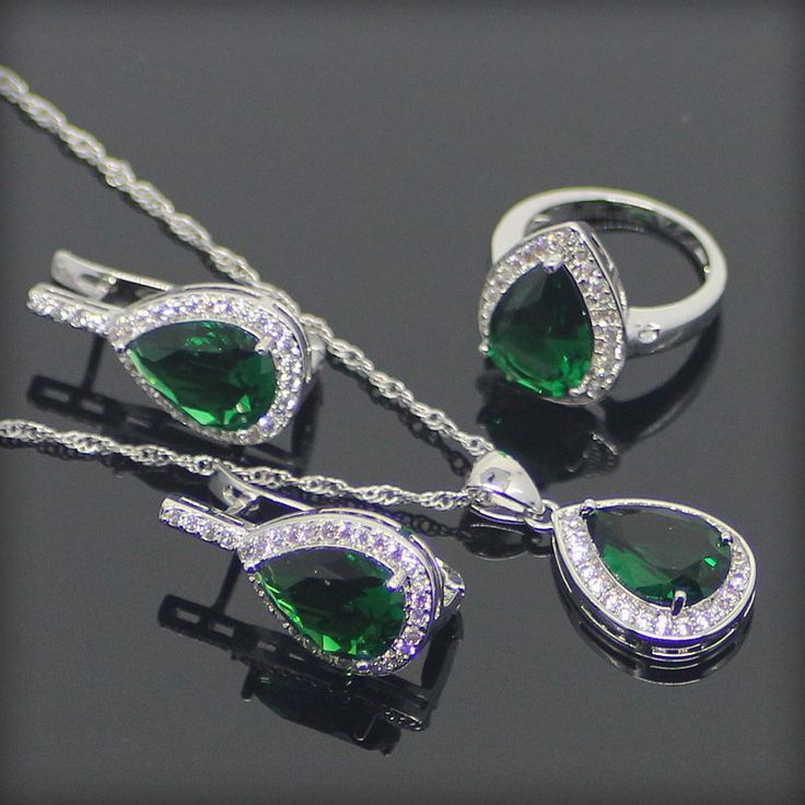 Classic Green Emerlad White Created Topaz 925 Sterling Silver Jewelry Sets For Women Necklace/Pendant/Rings/Earrings Free Box