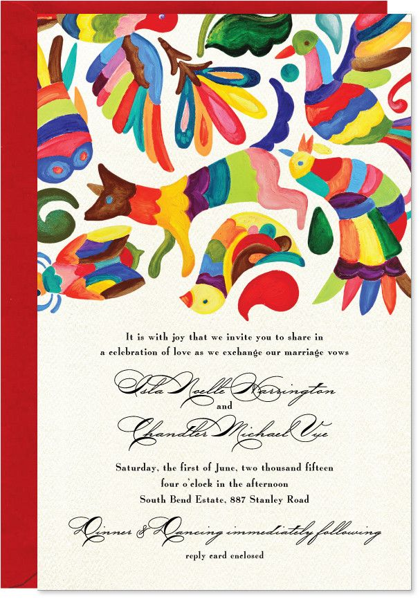 Set of 10 Otomi Invitations + Red A9 envelopes. Red envelopes are 30% or more post-consumer waste. Quantity of 1 = 10 invitations + 10 envelopes. All original artwork is hand drawn, scanned and press