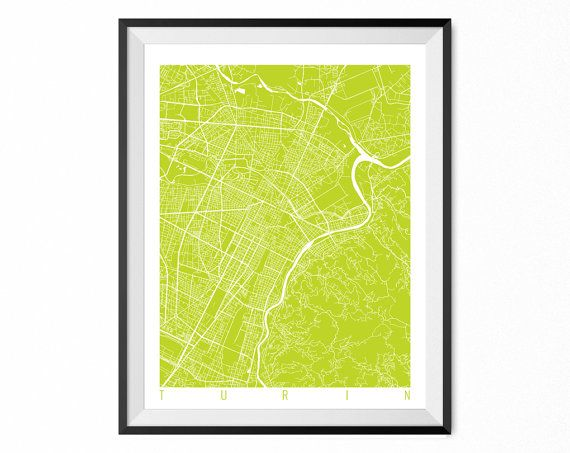 TURIN Map Art Print / Italy Poster / Turin Wall Art by CityMapArt