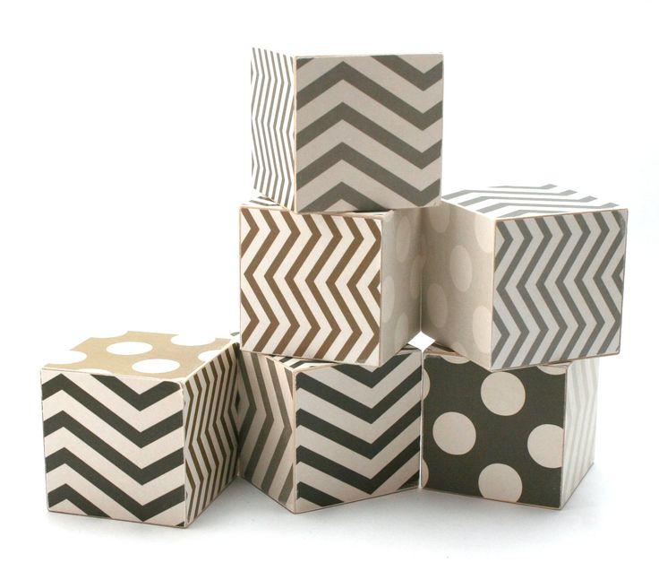 JUMBO Black and White Chevron and Polka Dot Wood Toy Blocks mod gray brown eco friendly children newborn photo prop. $36.00, via Etsy.
