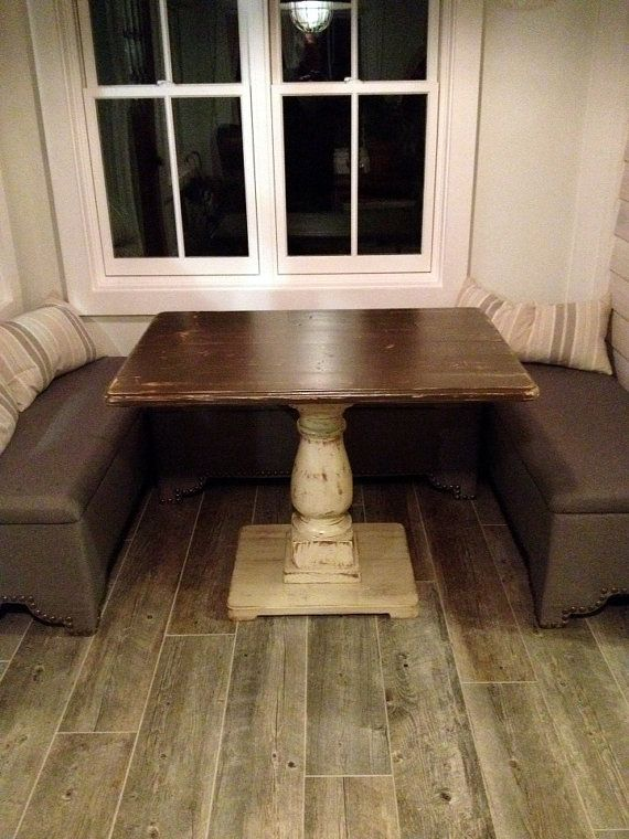 Handcrafted Rectangle Pedestal Table Distressed by TheWoodworkMan
