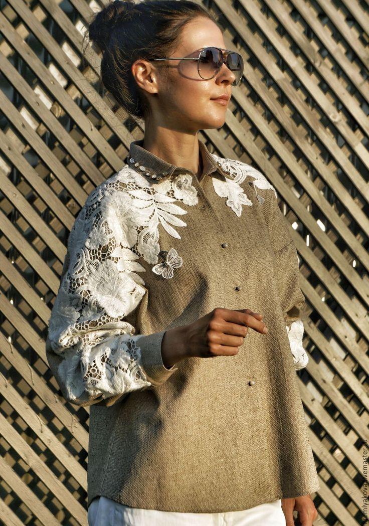 Дизайнерская рубашка, декорированная хлопковым кружевом – купить или заказать в интернет-магазине на Ярмарке Мастеров | Дизайнерская рубашками с элементами ручной работы…