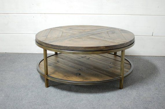 Industrial Round Wood Coffee Table Two Tier Table Wood Etsy Round Wood Coffee Table Coffee Table Wood Coffee Table