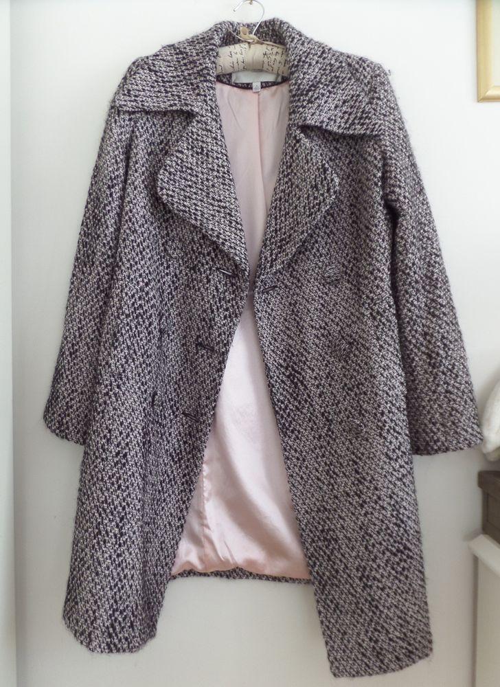 EDINA RONAY Coat Wool Blend Boucle Special 3/4 length coat black pink VGC size M