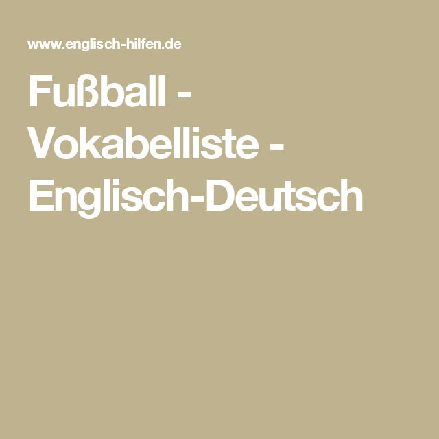 Fußball - Vokabelliste - Englisch-Deutsch