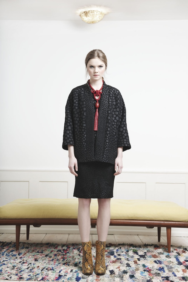 Rützou black dotted kimono inspired jacked and dotted dress with v-neck