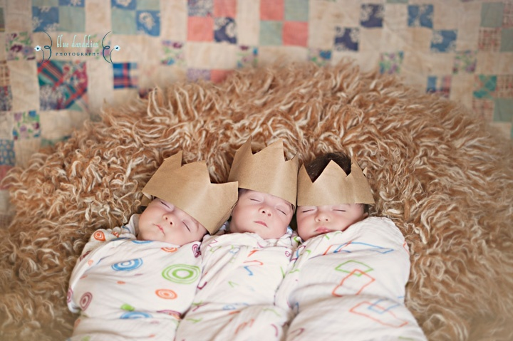 Newborn triplet photography