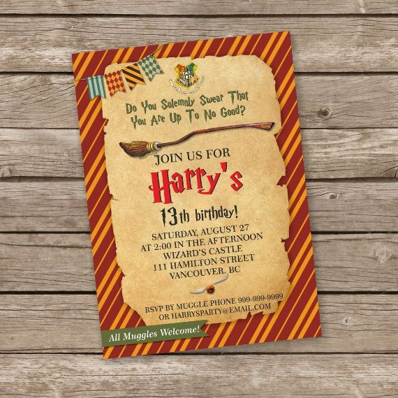 Harry Potter Invitation This listing is for the creation and delivery of a DIGITAL FILE for you to print yourself. NO PHYSICAL PRODUCT WILL BE SHIPPED.  *TURN AROUND TIME* - The proofs 1-2 days - The final files 1-2 days after approval.  YOU WILL RECEIVE: • 1 proof with the customized text • 1 JPG or PDF file of the ready invitation so you can print it however you want • 1 PDF of a 8.5 x 11 sheet with 2 of the invitations per page for easier printing  PLEASE INCLUDE*: - Name - Age - Date and…
