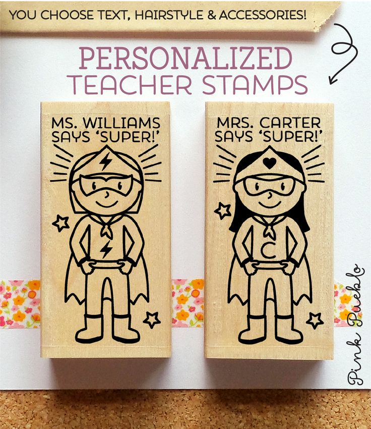 Pink Pueblo's female Superhero Teacher rubber stamp is perfect for stamping papers and student work! You get to choose the name, hairstyle and accessories for your teacher to make the stamp as persona