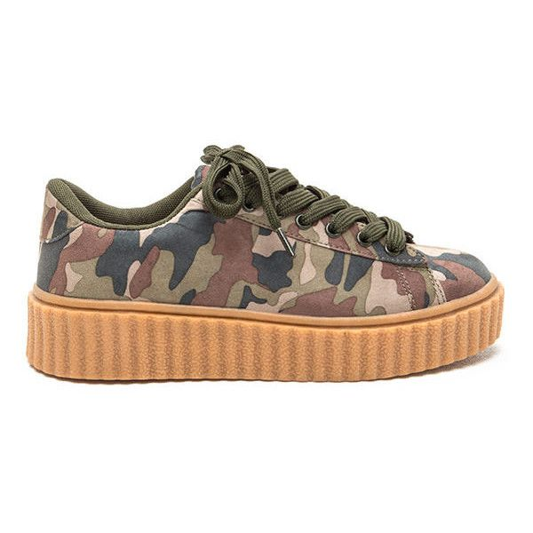 Camo Code Creeper Sneakers ($21) ❤ liked on Polyvore featuring shoes, sneakers, green, print sneakers, lacing sneakers, flatform sneakers, platform trainers and green platform shoes