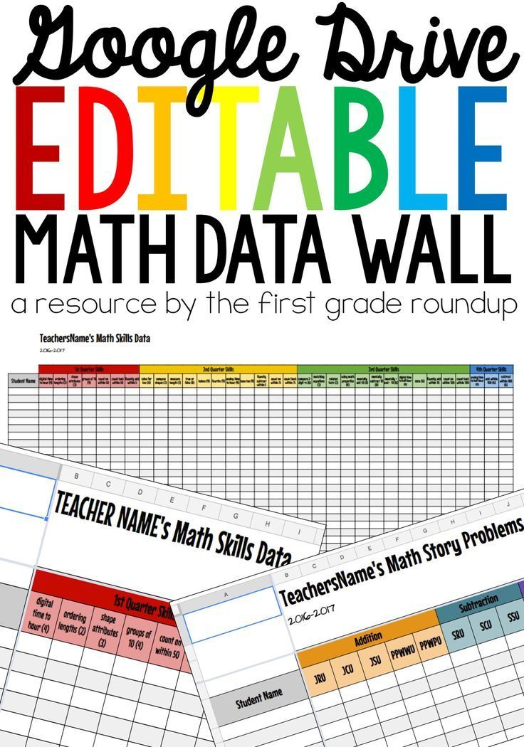 Want an easy way to organize all of your math data for your first graders?  This Google Sheets resource is fully editable to help you track student data at school or at home.  It's paced out already for first grade, but easily editable if you teach anothe