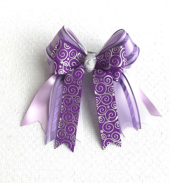 Handmade Girls Small Classic School Grey Hair Bow Clips Sold In Pairs