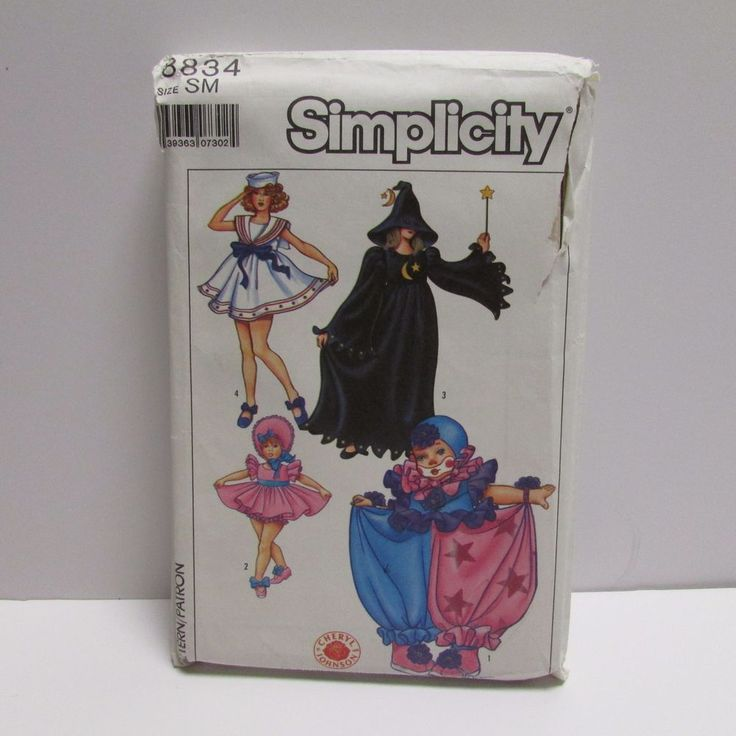 Costume Pattern VINTAGE Simplicity 8834 Size SM Clown Baby Doll Witch Sailor…