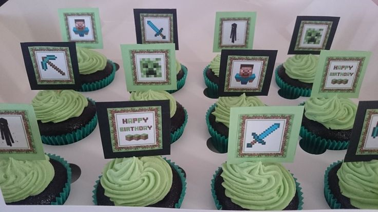 """Fondant and I are not the best of friends, so I have had to get a little creative when people ask for """"themed"""" cupcakes...got to love free google images!!  These Minecraft cupackes were perfect for a young boy's birthday and the guests got to keep the toppers!"""