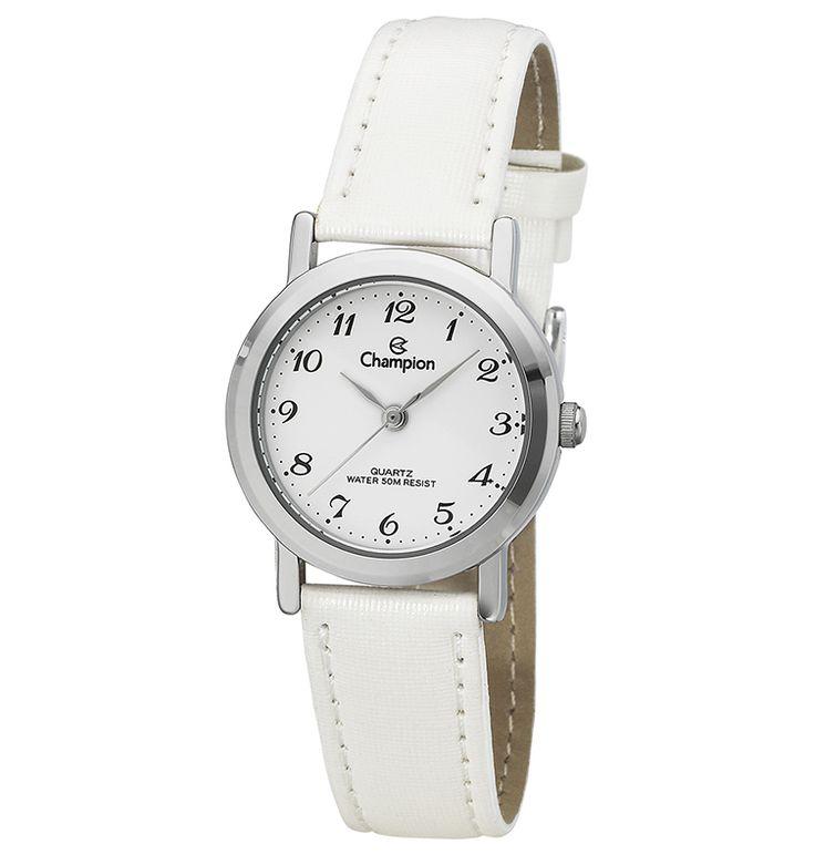 Relógio Champion Feminino Social Couro Branco CH25016D