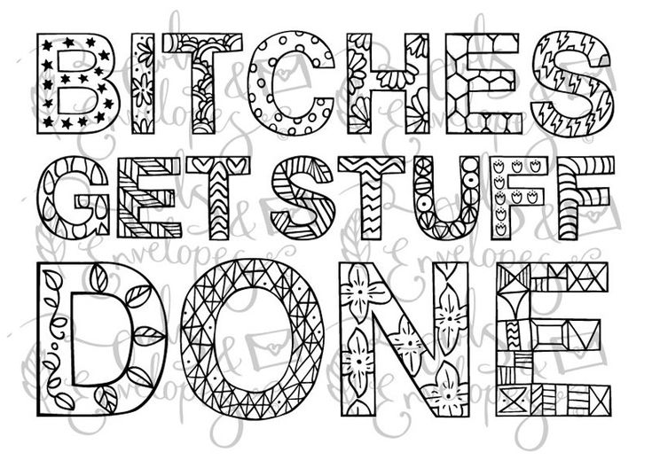 Bitches get stuff done typographic A4 print: by OwlsandEnvelopes