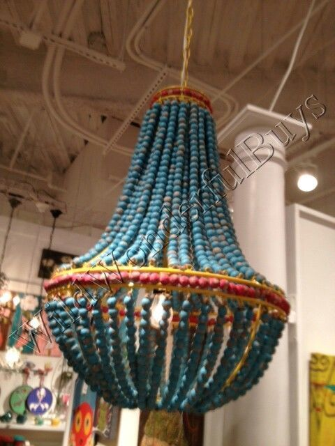 Ainsley Turquoise Wood Beads Chandelier Beaded Dining Light Aqua Blue New