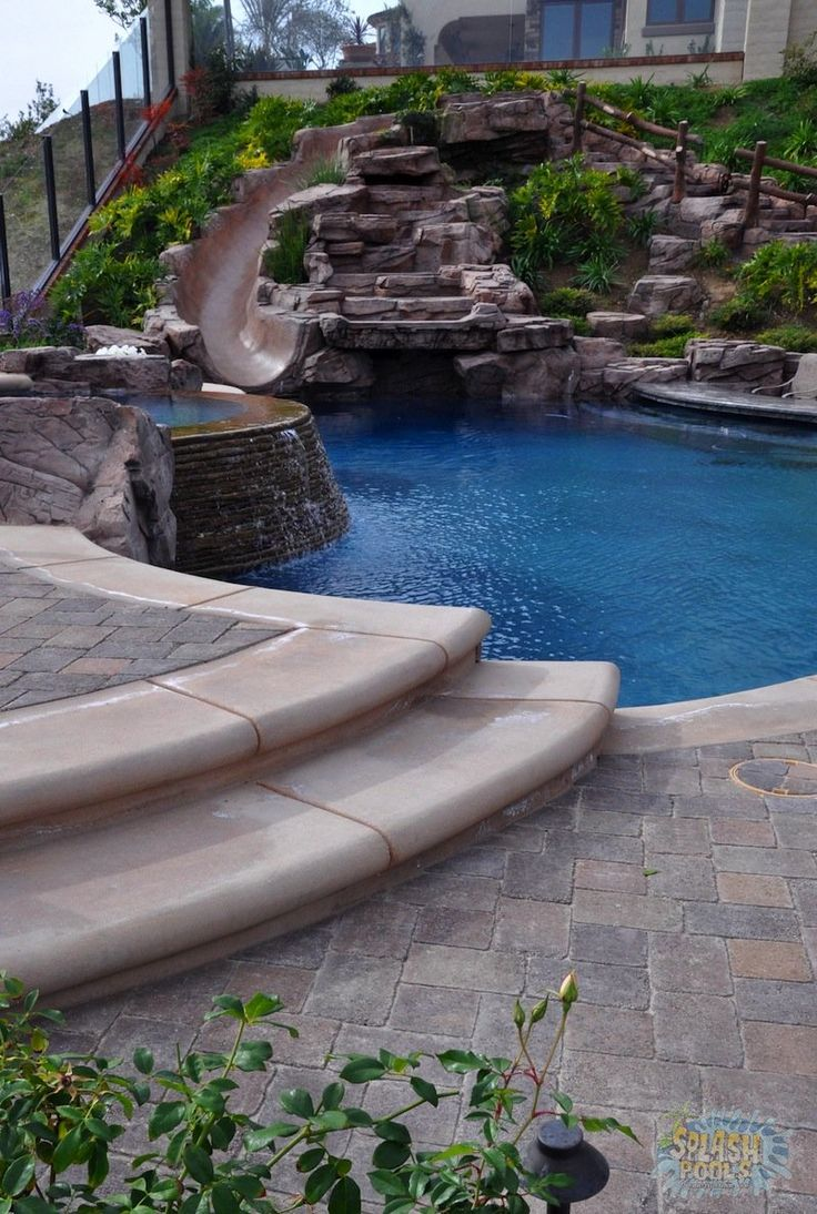Rock Waterfalls Slides Glendora Ontario Pools Pools