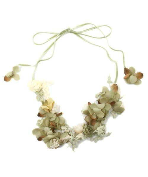 m.soeur(エムスール)のヤマイモレースとお花のネックレス(ネックレス) グリーン