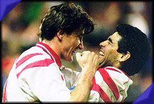 Davor Šuker, Sevilla FC (1991–1996, 153 apps, 76 goals) and Diego Maradona, Sevilla FC