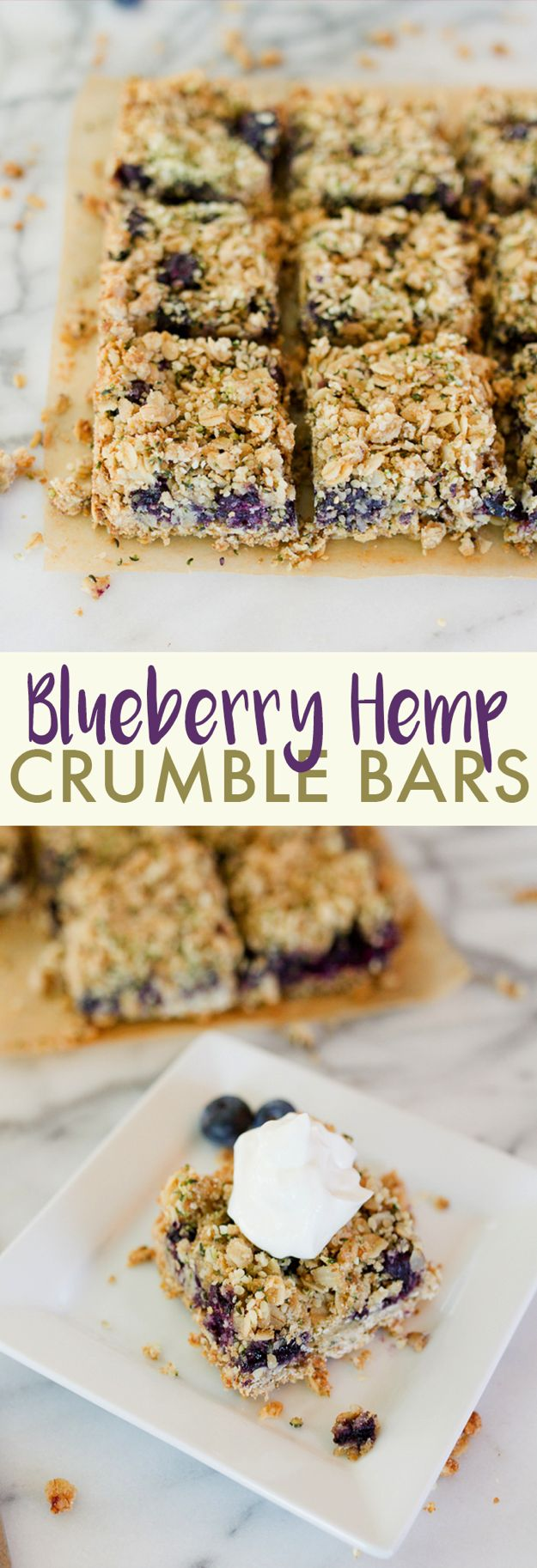 Blueberry Hemp Crumble Bars // Blueberry crumble bars made healthier with nutrient-dense Hemp Hearts, coconut oil and fresh blueberries. Serve these bars for breakfast as a special treat, with ice cream for an indulgent dessert or alone as a snack. Gluten-free, vegan and made with whole grains.