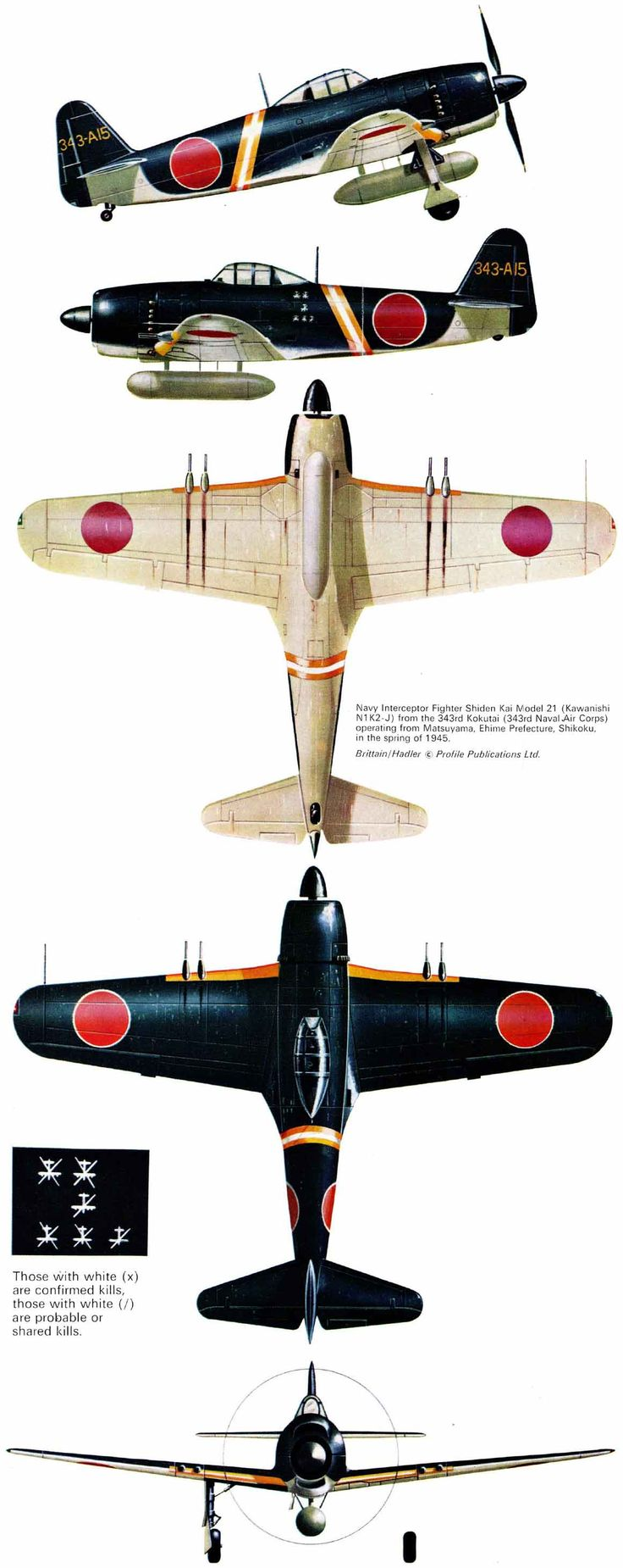 "Kawanishi N1K2-J Model 21, unit Sentou 301st Hikoutai 'Shinsen-Gumi', 343rd kokutai, serial 343-A15, pilot Lt.Naoshi Kanno (72 victories, August 1st, 1945 KIA), Matsuyama, Ehime Prefecture, Shikoku, Spring 1945.  Artist: © Tom Brittain  Source: ""Kawanishi N1K Kyofu/Rex & Shiden/GEORGE"" by Rene J.Francillon, Ph.D., Profile Publications Ltd, No.213"