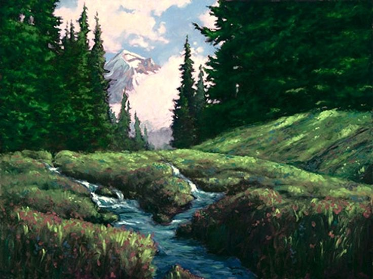 Mt hood Snow Melt by Michael Orwick Oil ~ 30 x 40