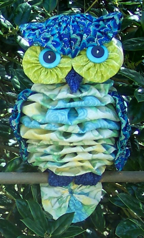 Fabric Yo-Yo Owl by anitabradshaw on Etsy