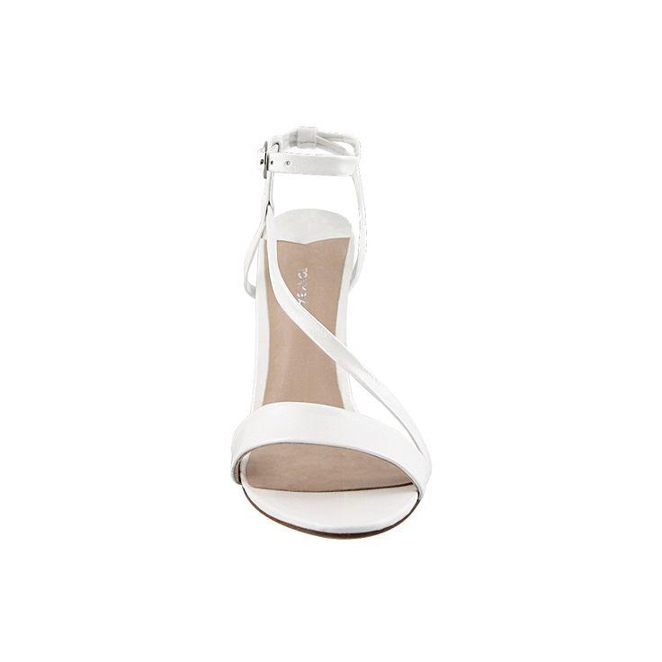 KRUSH White Pearl Strappy Stiletto Heels
