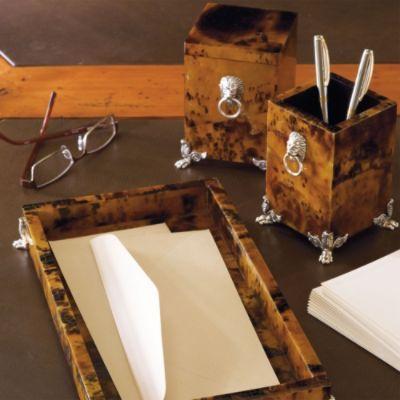 Penshell lion's head desk accessories