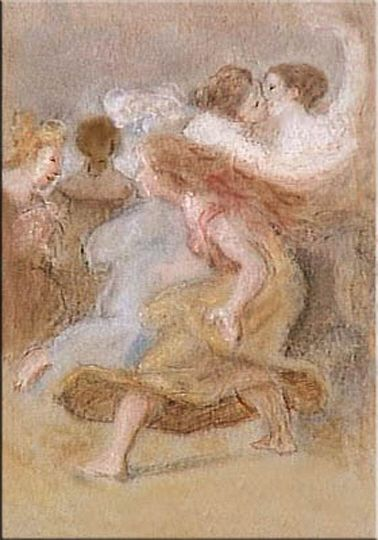 Deux femmes s'embrassant by Pietro Liberi (1614-1687).
