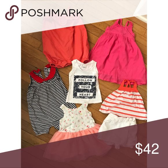 Seven piece baby gap and old navy girl bundle Super cute old navy and baby gap bundle. Great condition and super cute. Rompers, tank, dresses and an outfit with a skort and tank. GAP Dresses Casual