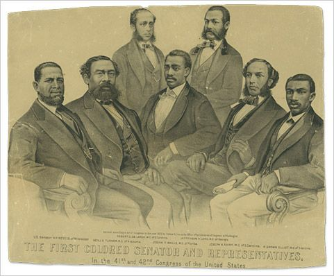 FIRST BLACK MEMBERS of CONGRESS.   For much of the Reconstruction era, from 1869 to 1877, the federal government assumed political control of the former states of the Confederacy. Voters in the South elected more than 600 African American state legislators and 16 members of Congress. Black and white citizens established several progressive state governments that attempted to extend educational opportunities and civil and political rights to everyone.: