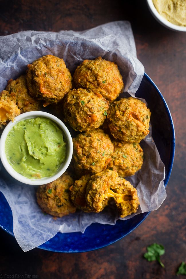 Cheese Stuffed Mexican Hummus Bites, the perfect crunchy snack to dip into Sabra Guacamole. 100 calories each, gluten and grain free.