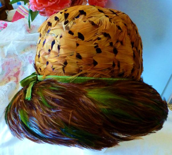Vintage Hat Gorgeous Pheasant Feathered Cloche Hat by vintagelady7
