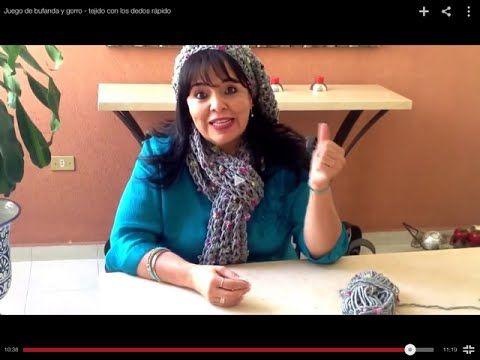 Juego de bufanda y gorro - tejido con los dedos rápido - Tejiendo con Laura Cepeda - YouTube