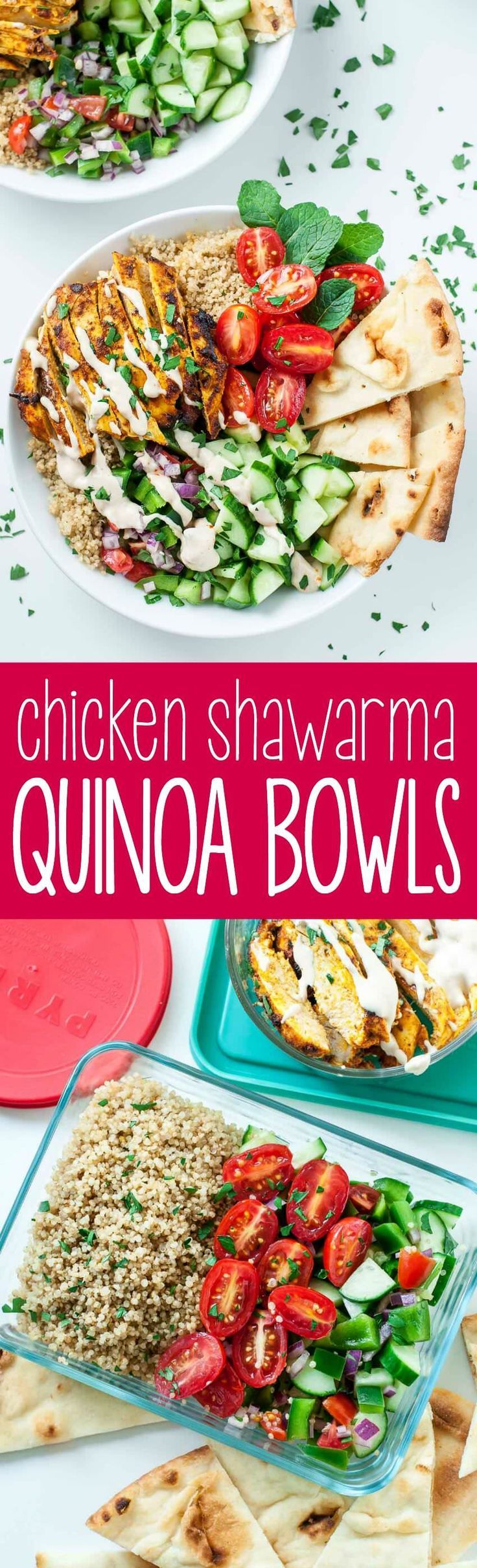 We're loving this recipe for healthy Chicken Shawarma Quinoa Bowls with a super easy hack for creating make-ahead lunches for work or school. The flavors are out of this world!! Vegetarian + Vegan versions available