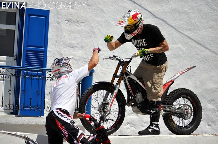 The Trial X riders Marios Pol & Julien Dupont in a videoshooting with Red Bull in Milos island.
