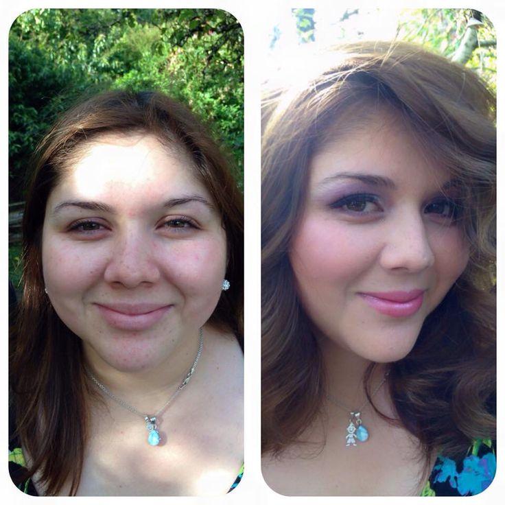 Fabuloso antes y después de maquillaje y peinado