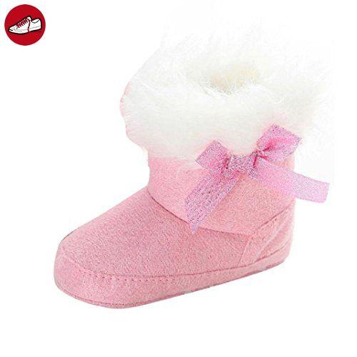 kingko® Säuglingsschätzchen weiche rutschsichere Schneeschuhe Bowknot de Winter warm Torhüter... (0-6 Monate, Rosa) (*Partner-Link)