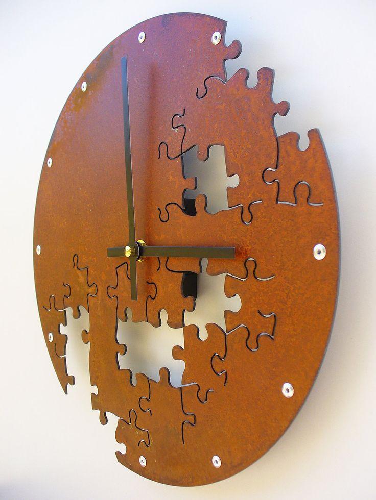 Puzzle Wall Clock V (Rusted). $56.00, via Etsy.
