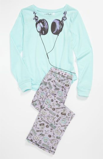 PJ Salvage 'Headphones' Two Piece Pajamas (Little Girls & Big Girls) available at #Nordstrom #MyTweenScene