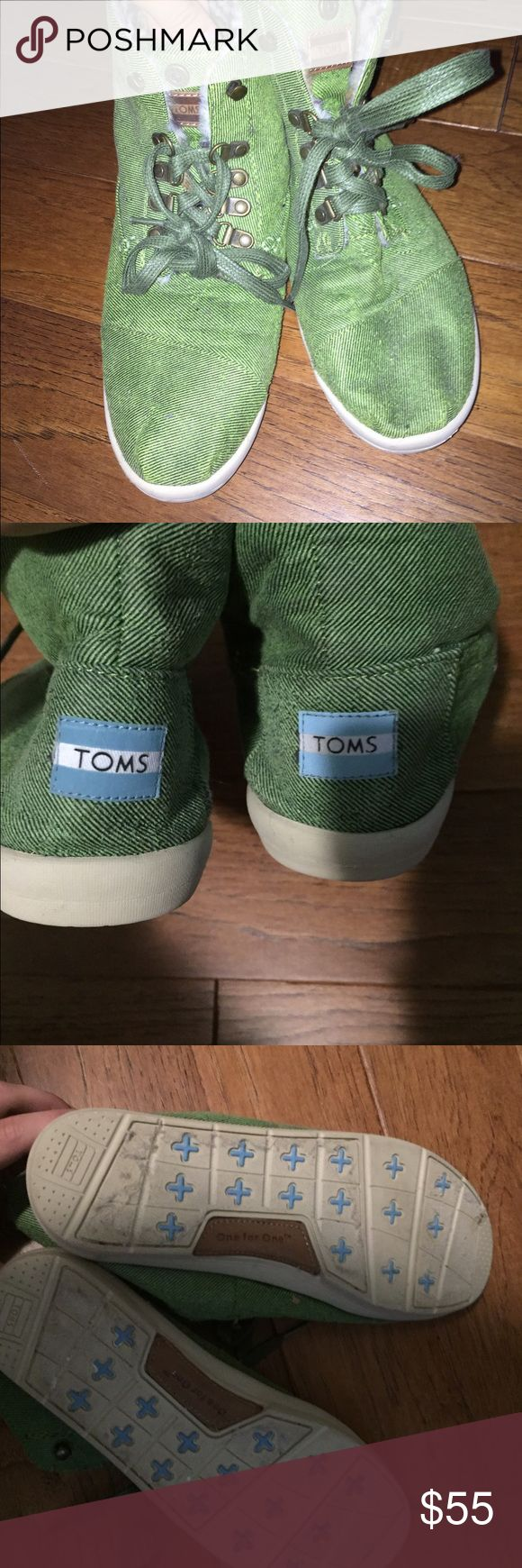 Toms Green High-tops Never worn, green Toms high-tops. Soft, leopard print material on inside, great quality shoe, good condition (never worn). TOMS Shoes Sneakers