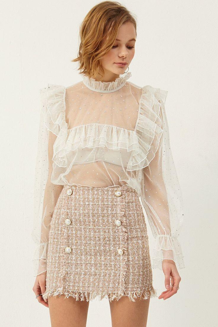 Dora Tweed Skirt  >>Discover the latest fashion trends online at storets.com #skirt #tweedskirt #bottoms