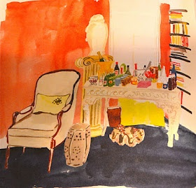 Interior - Virginia Johnson's watercolor. This is a variation of miles Redd's Bar.