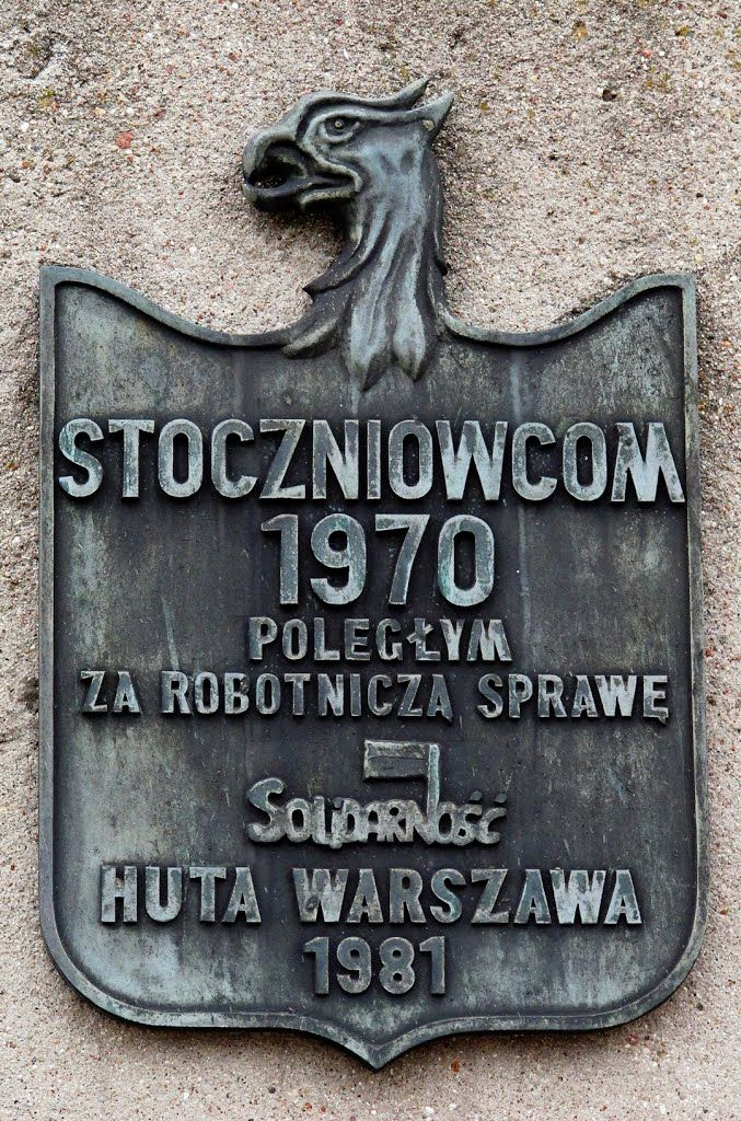 Memorial plate to the Fallen Shipyard Workers of 1970. Gdansk, July 2013.
