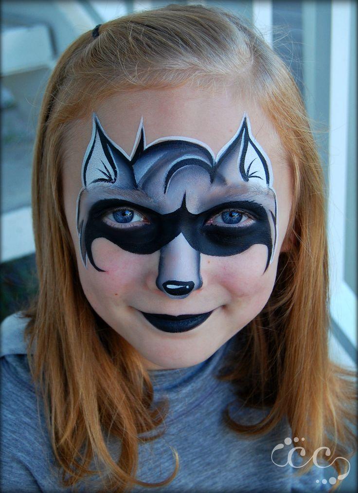 Raccoon face paint design by artist Ashlie Alvey of Chubby Cheeks Body Art in Savannah, Georgia #raccoon #facepaint #chubbycheeksart #savannah #Georgia #facepainter #animal #art #design