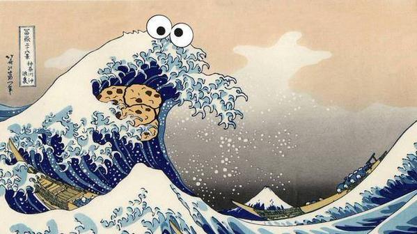 Cookie Monster meets Hokusai