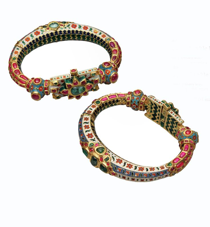 India - probably Jaipur | Pair of anklets; gold enamelled and inset with rubies and emeralds | ca. 18th to early 19th century