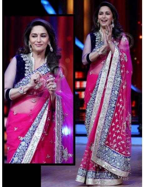 Madhuri Dixit In Pink Saree Item code : SMBW17